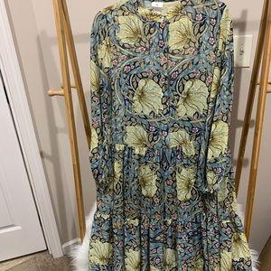 Blue Floral Long Dress
